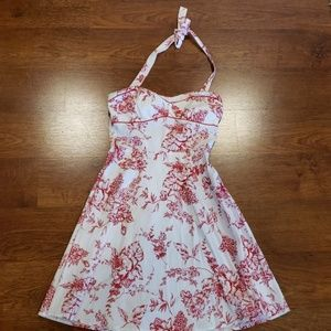 Red And White Floral Halter Dress